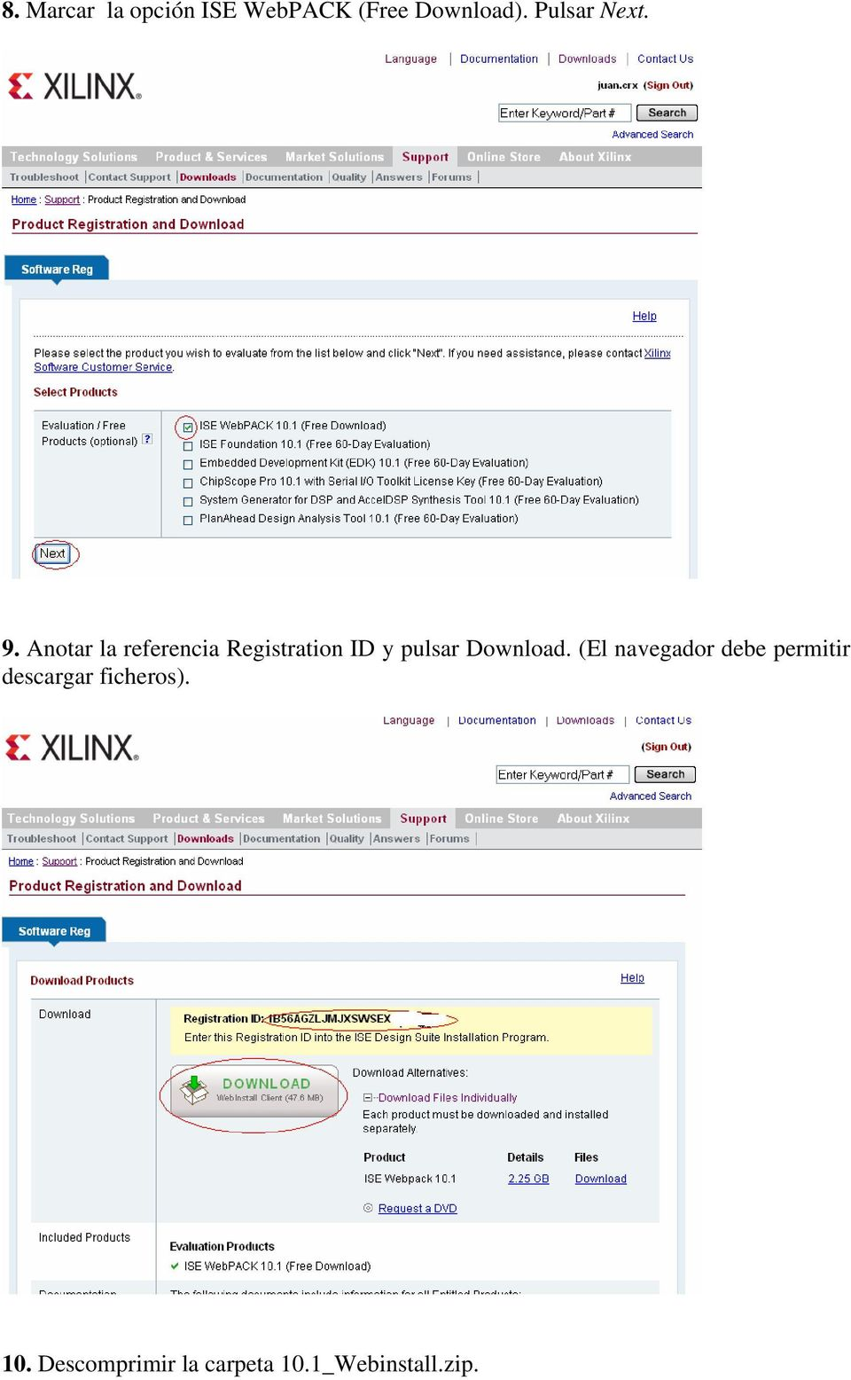 Anotar la referencia Registration ID y pulsar Download.