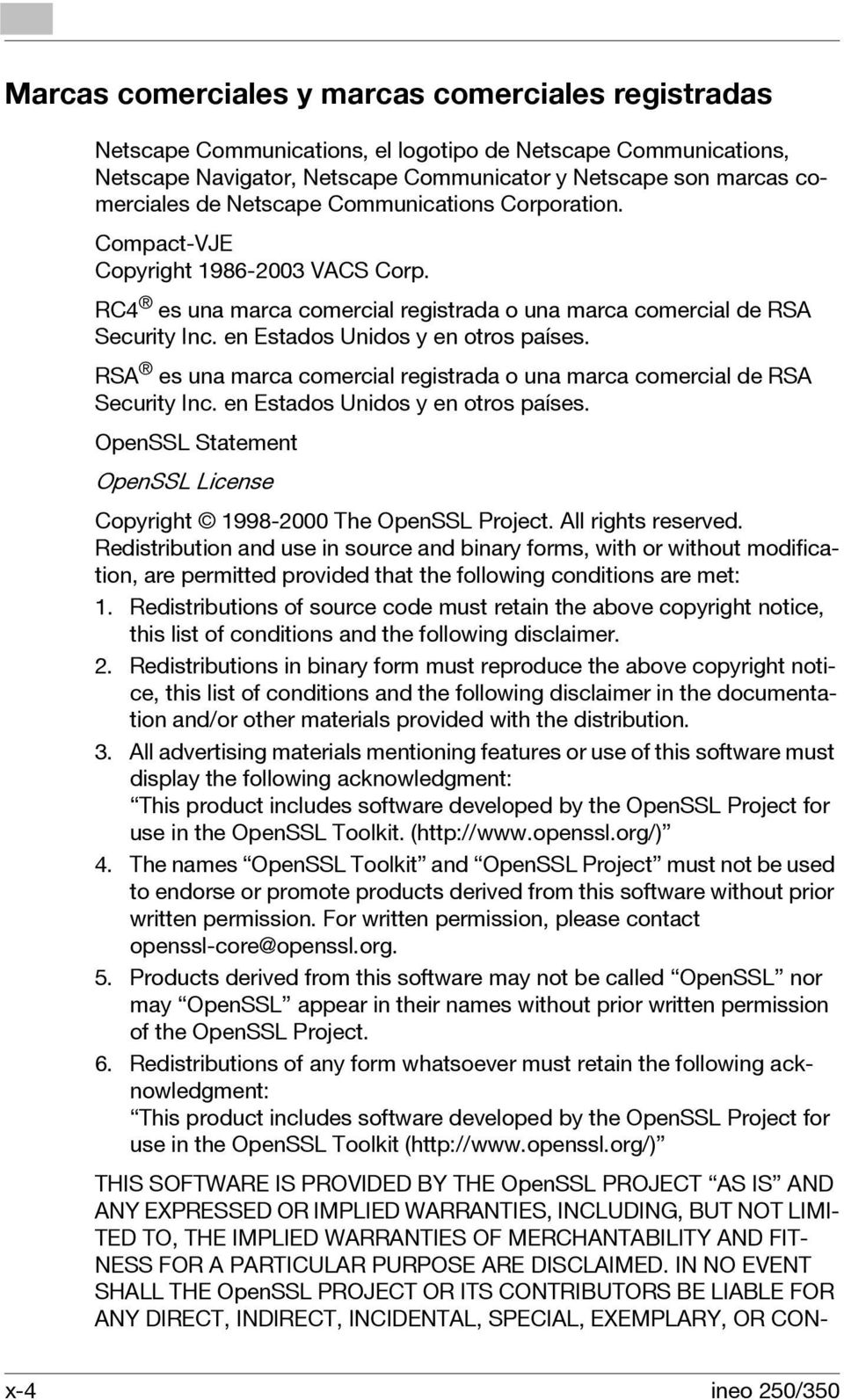 RSA es una marca comercial registrada o una marca comercial de RSA Security Inc. en Estados Unidos y en otros países. OpenSSL Statement OpenSSL License Copyright 1998-2000 The OpenSSL Project.