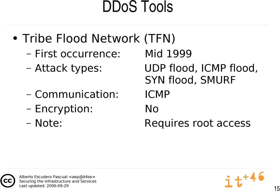 ICMP flood, SYN flood, SMURF Communication:
