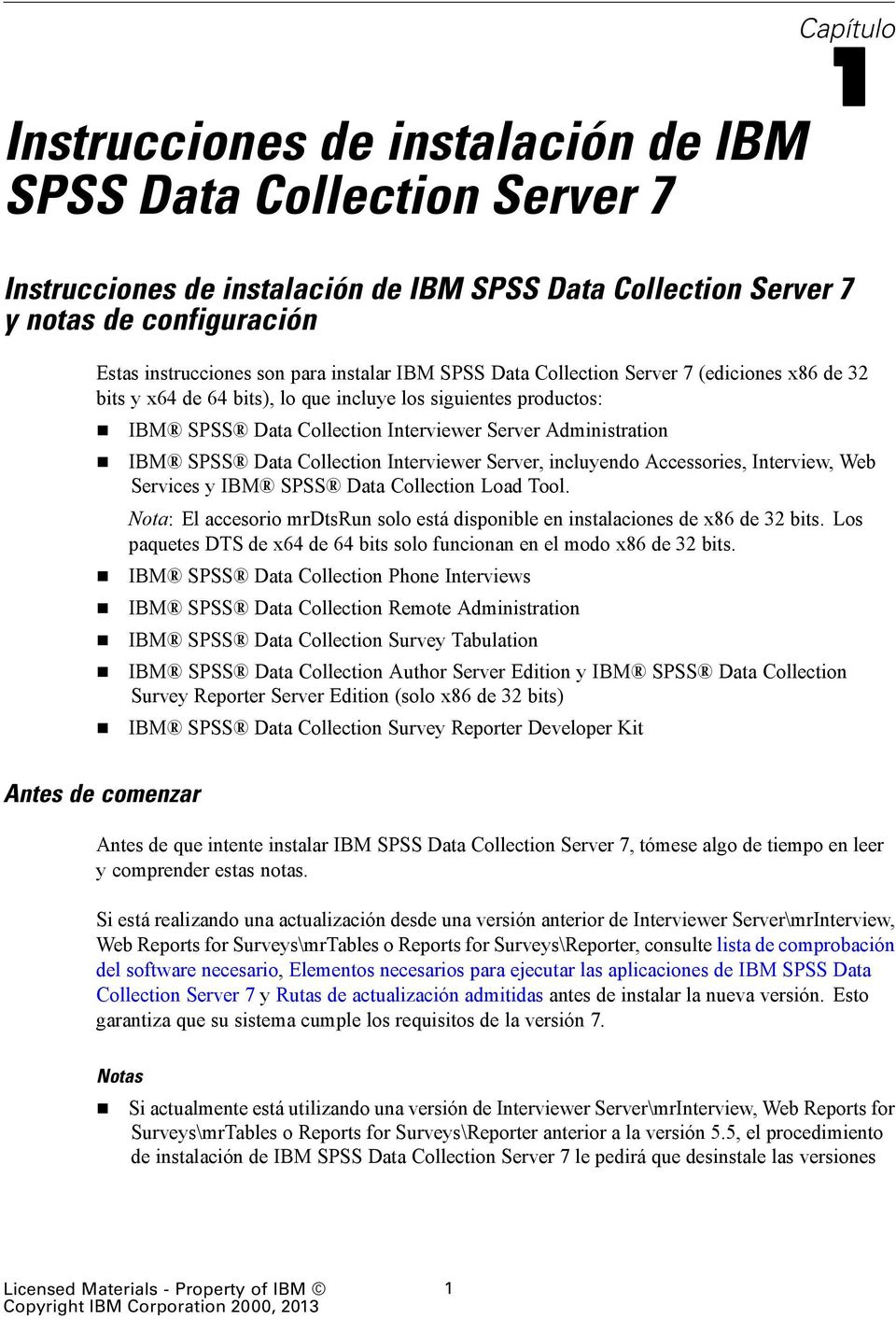 Data Collection Interviewer Server, incluyendo Accessories, Interview, Web Services y IBM SPSS Data Collection Load Tool.