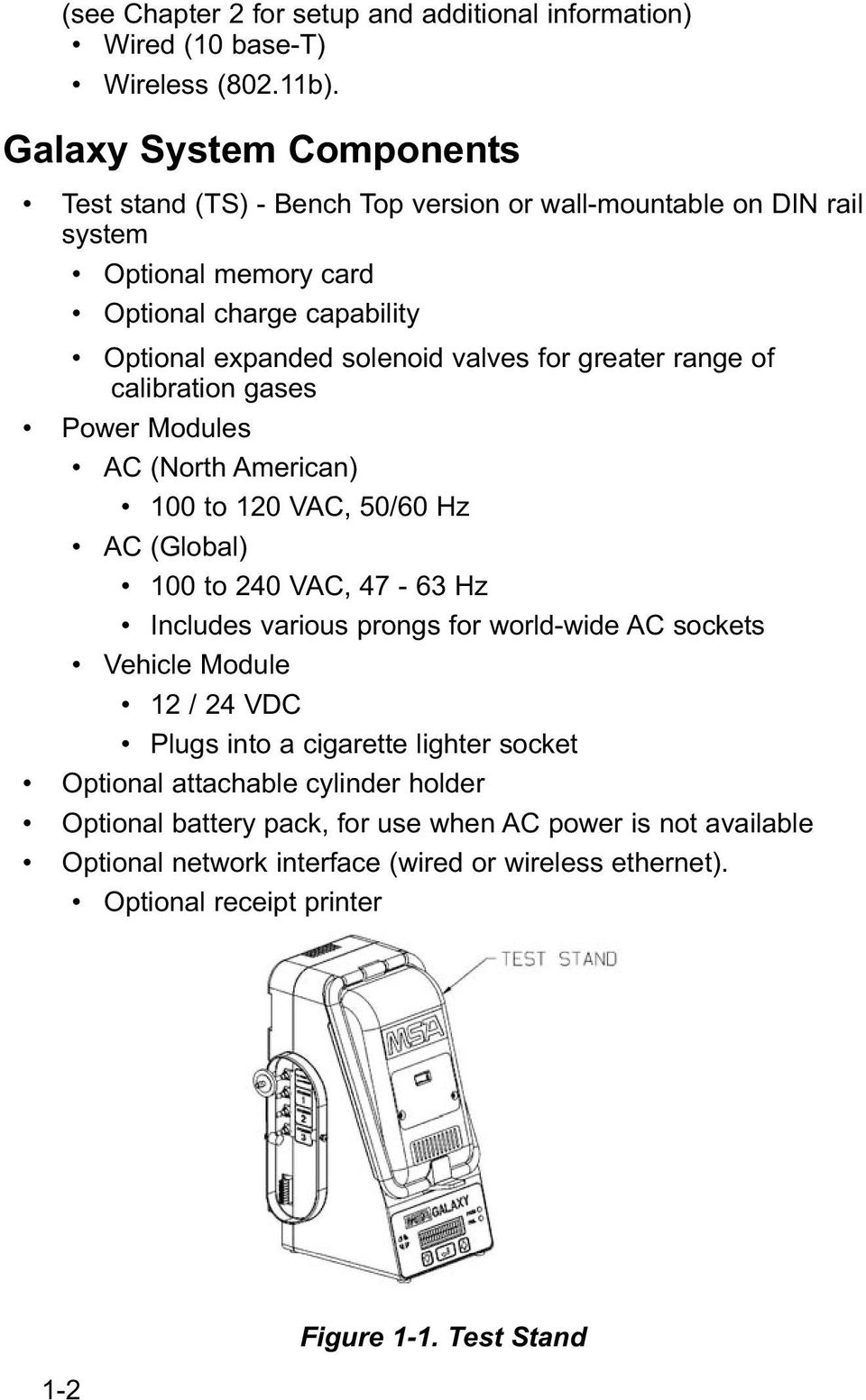 for greater range of calibration gases Power Modules AC (North American) 100 to 120 VAC, 50/60 Hz AC (Global) 100 to 240 VAC, 47-63 Hz Includes various prongs for world-wide AC