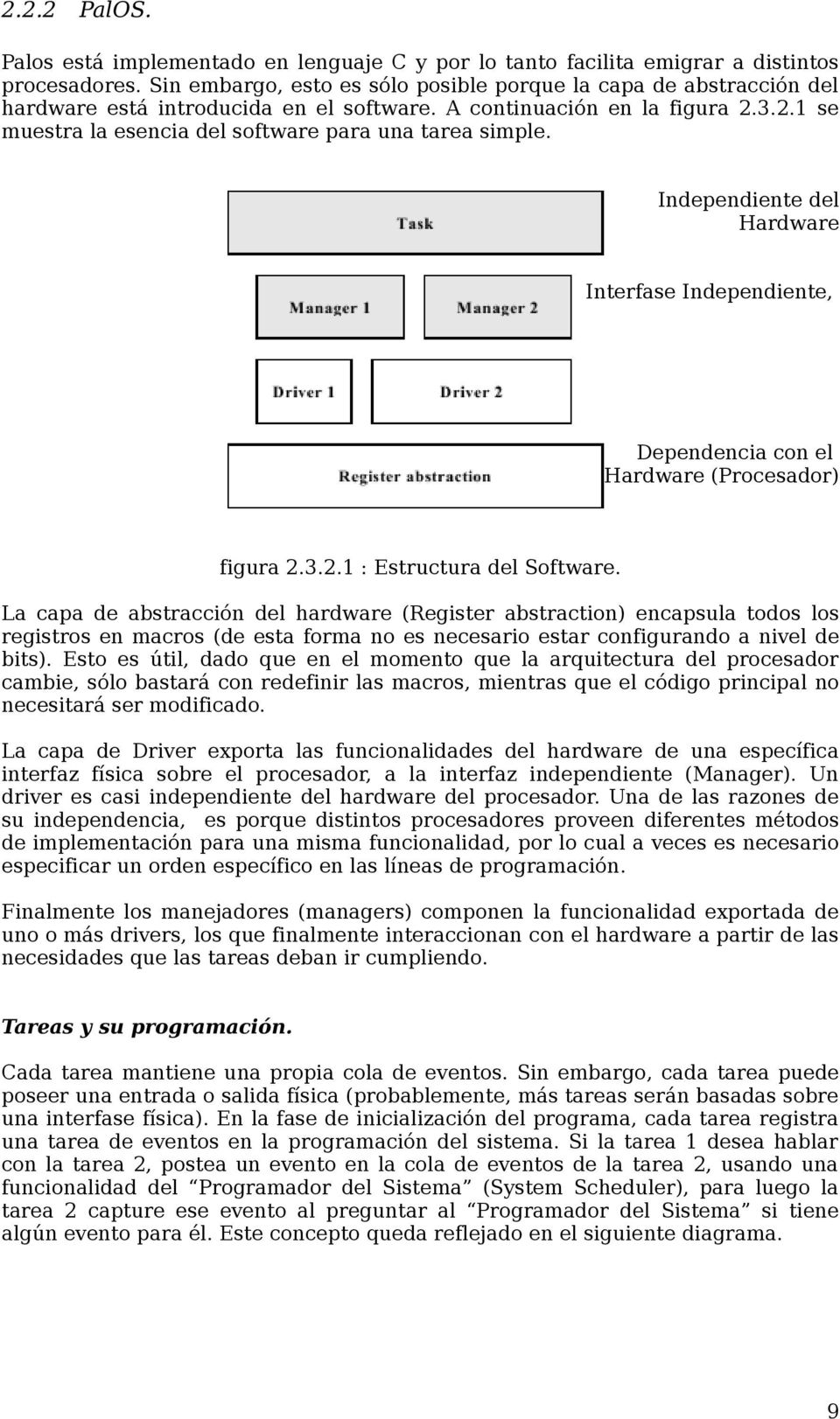 Independiente del Hardware Interfase Independiente, Dependencia con el Hardware (Procesador) figura 2.3.2.1 : Estructura del Software.