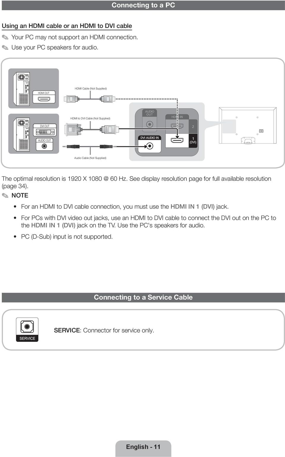 See display resolution page for full available resolution (page 34). NOTE For an HDMI to DVI cable connection, you must use the HDMI IN 1 (DVI) jack.