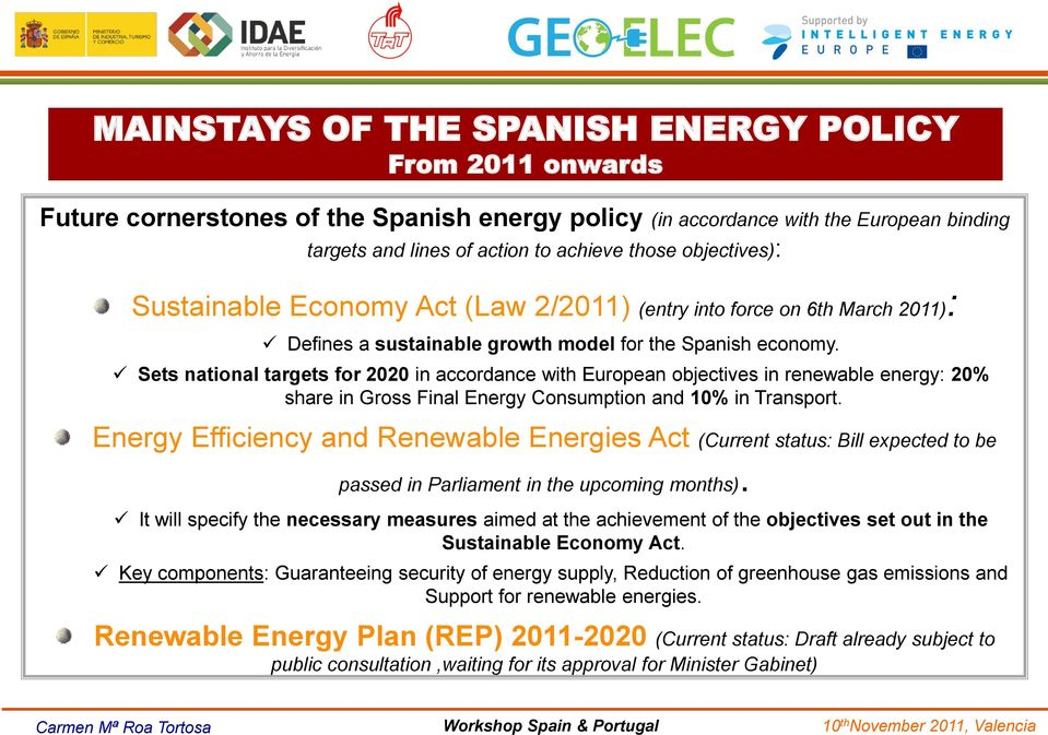 Sets national targets for 2020 in accordance with European objectives in renewable energy: 20% share in Gross Final Energy Consumption and 10% in Transport.