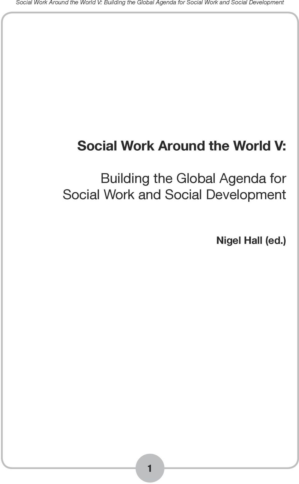 Agenda for Social Work and
