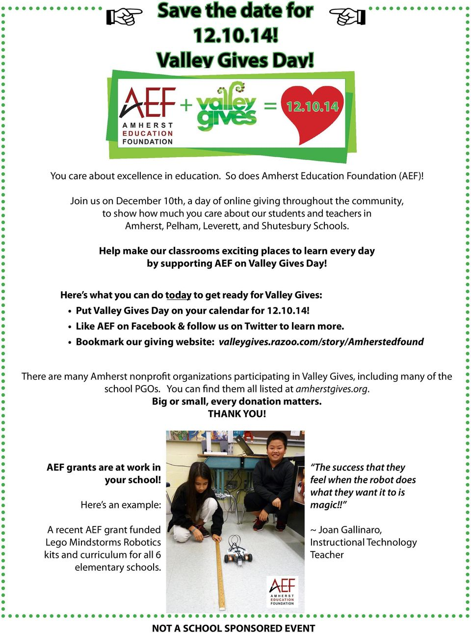 Help make our classrooms exciting places to learn every day by supporting AEF on Valley Gives Day!