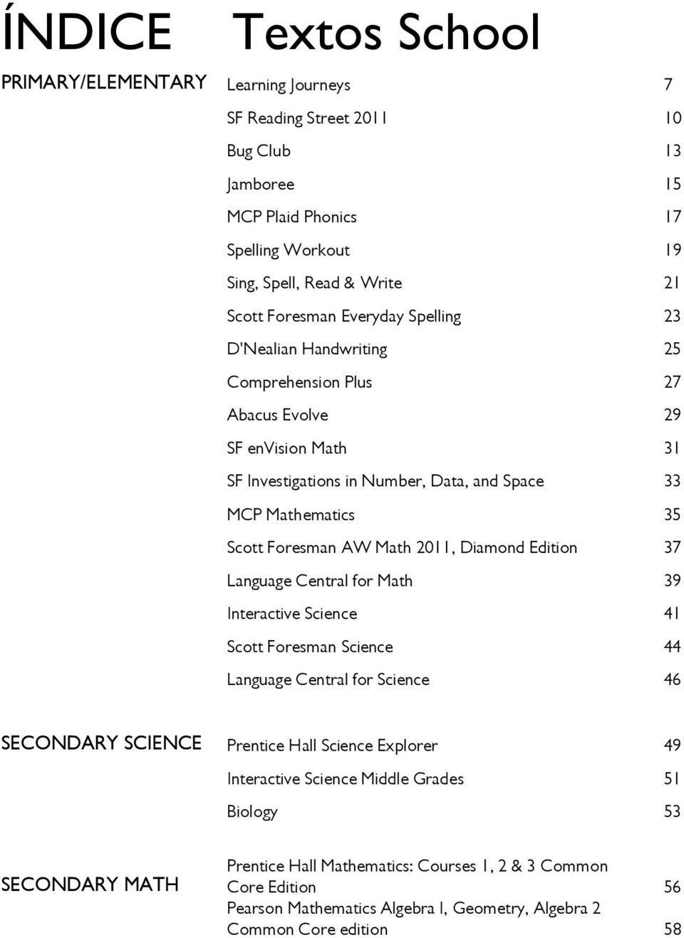 2011, Diamond Edition 37 Language Central for Math 39 Interactive Science 41 Scott Foresman Science 44 Language Central for Science 46 SECONDARY SCIENCE Prentice Hall Science Explorer 49