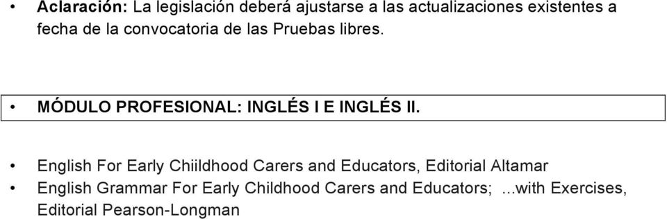 English For Early Chiildhood Carers and Educators, Editorial Altamar English Grammar