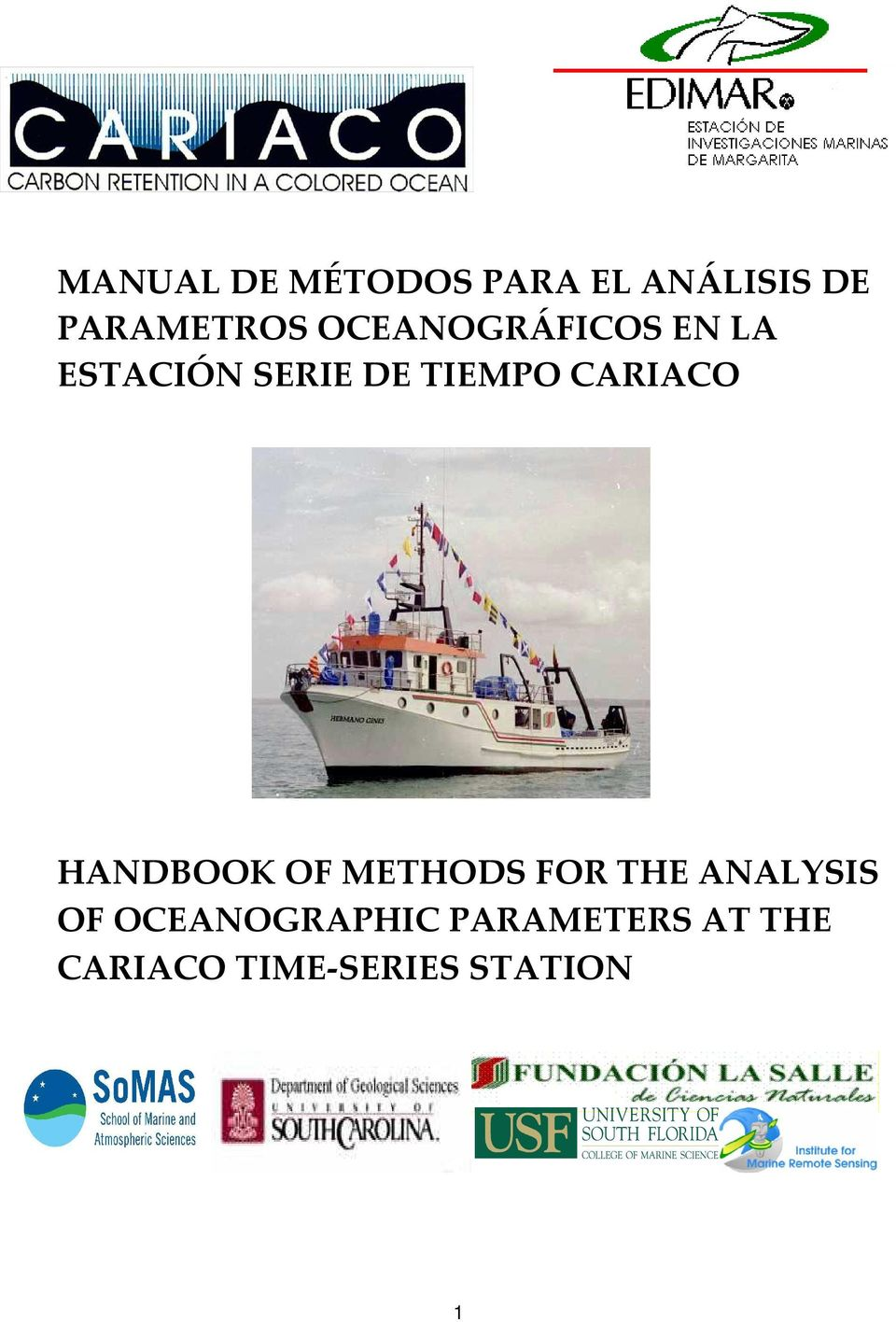 CARIACO HANDBOOK OF METHODS FOR THE ANALYSIS OF