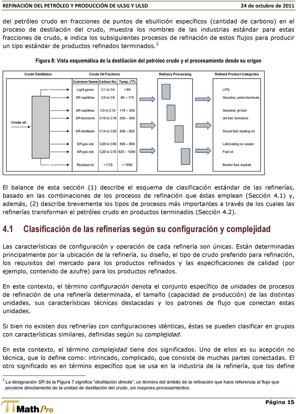 2 Figura 8: Vista esquemática de la destilación del petróleo crudo y el procesamiento desde su origen Crude Distillation Crude Oil Fractions Refinery Processing Refined Product Categories Common Name