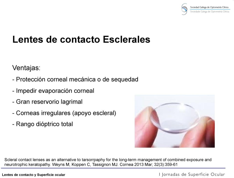 dióptrico total Scleral contact lenses as an alternative to tarsorrpaphy for the long-term
