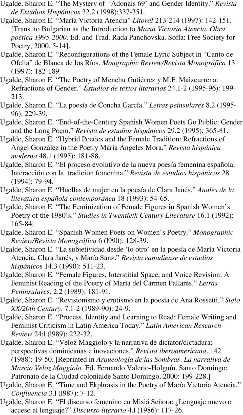 Reconfigurations of the Female Lyric Subject in Canto de Ofelia de Blanca de los Ríos. Mongraphic Review/Revista Monográfica 13 (1997): 182-189. Ugalde, Sharon E. The Poetry of Menchu Gutiérrez y M.F. Maizcurrena: Refractions of Gender.