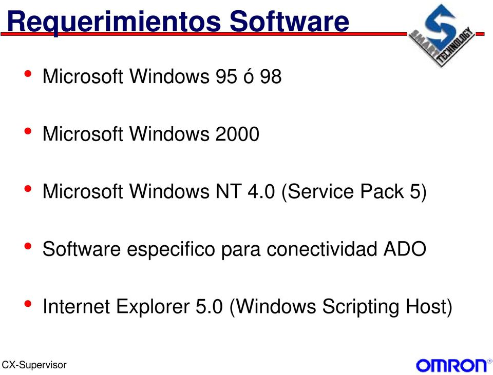 0 (Service Pack 5) Software especifico para