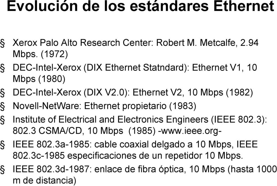 0): Ethernet V2, 10 Mbps (1982) Novell-NetWare: Ethernet propietario (1983) Institute of Electrical and Electronics Engineers (IEEE 802.3): 802.