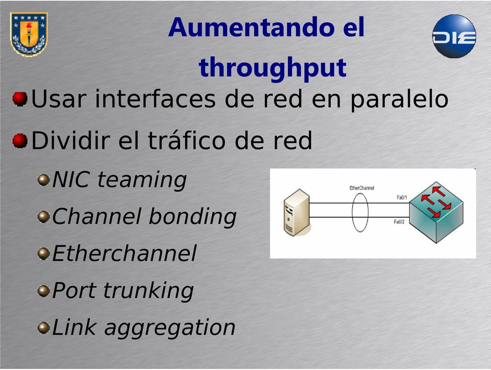 el tráfico de red NIC teaming Channel