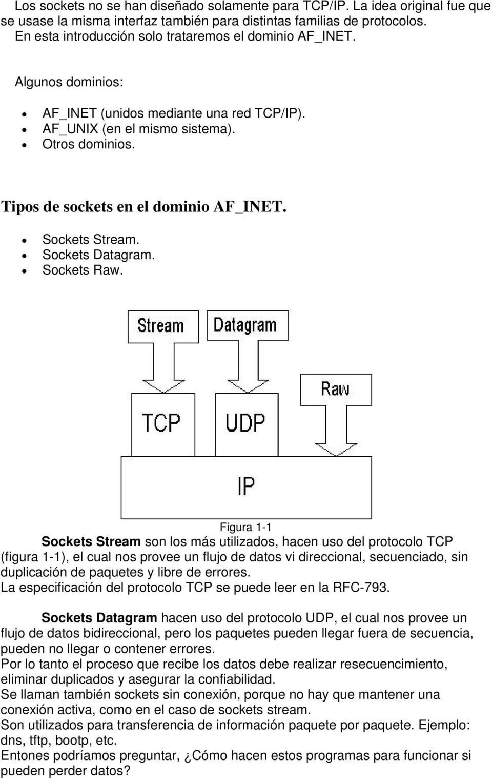 Tipos de sockets en el dominio AF_INET. Sockets Stream. Sockets Datagram. Sockets Raw.