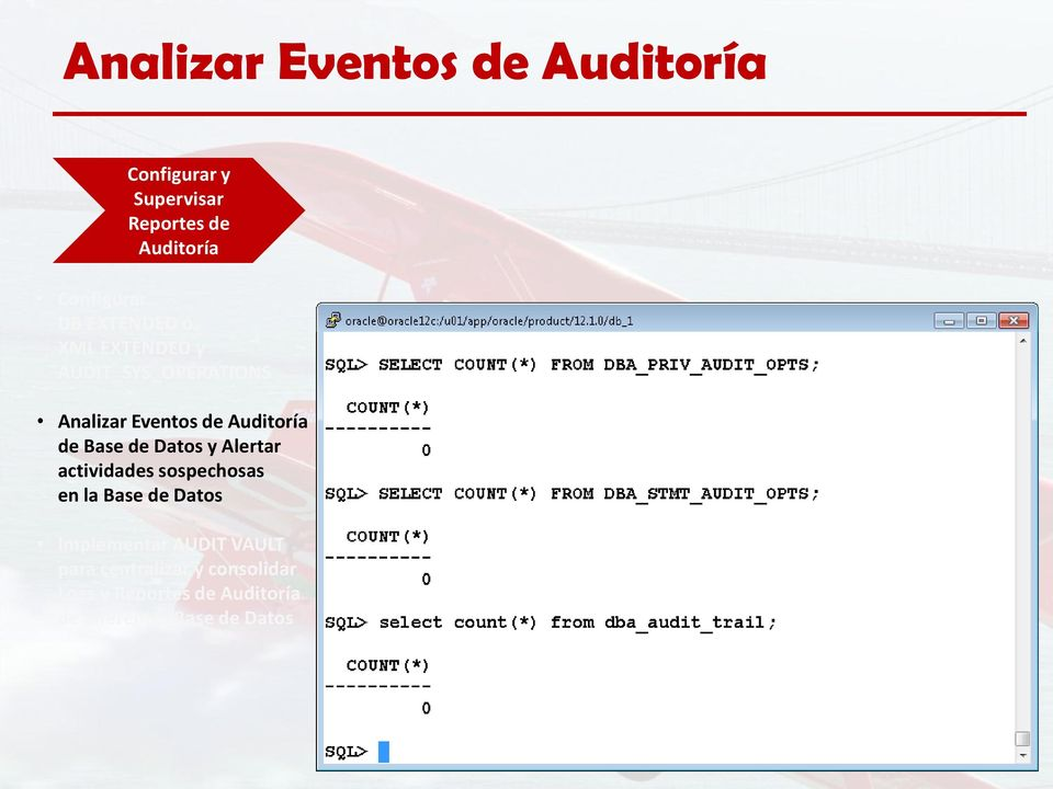 Base de Datos y Alertar actividades sospechosas en la Base de Datos Implementar AUDIT