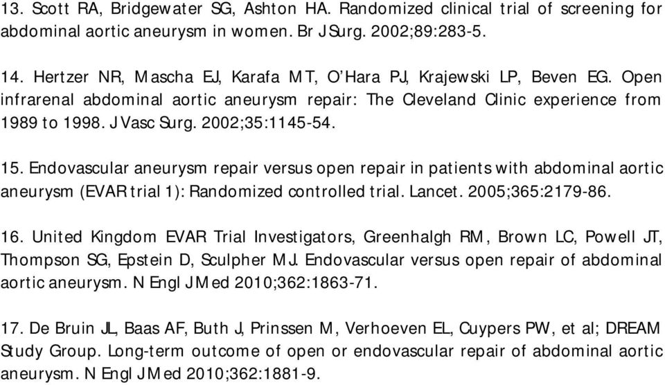 15. Endovascular aneurysm repair versus open repair in patients with abdominal aortic aneurysm (EVAR trial 1): Randomized controlled trial. Lancet. 2005;365:2179-86. 16.