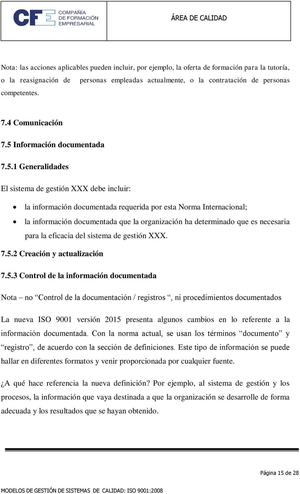 Información documentada 7.5.
