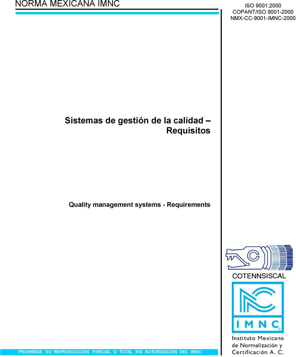 Requisitos Quality management systems - Requirements