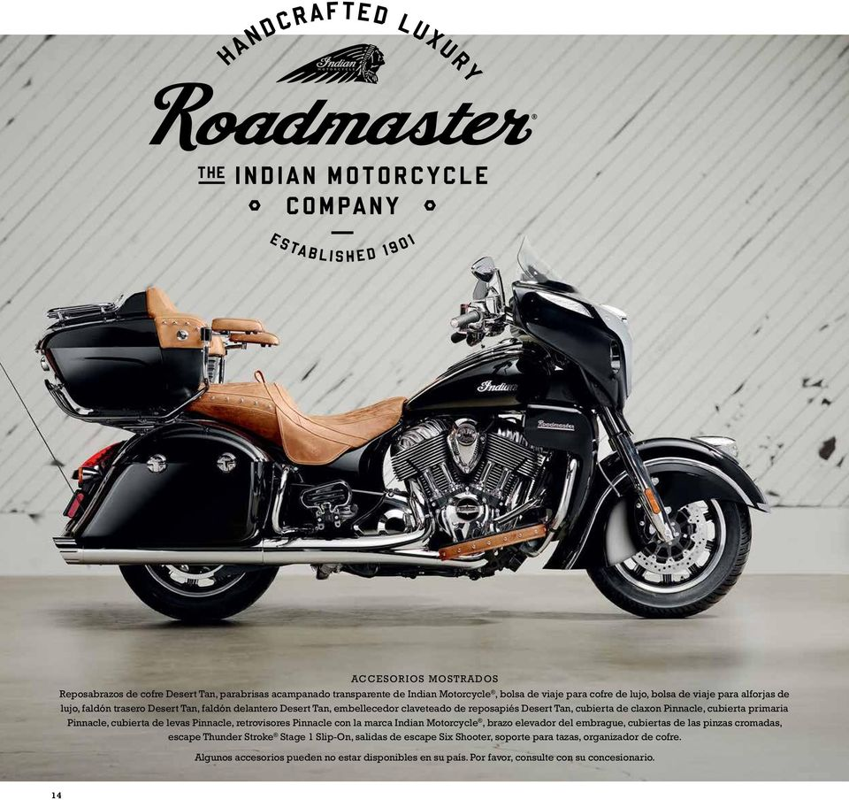 cubierta de levas Pinnacle, retrovisores Pinnacle con la marca Indian Motorcycle, brazo elevador del embrague, cubiertas de las pinzas cromadas, escape Thunder Stroke Stage 1