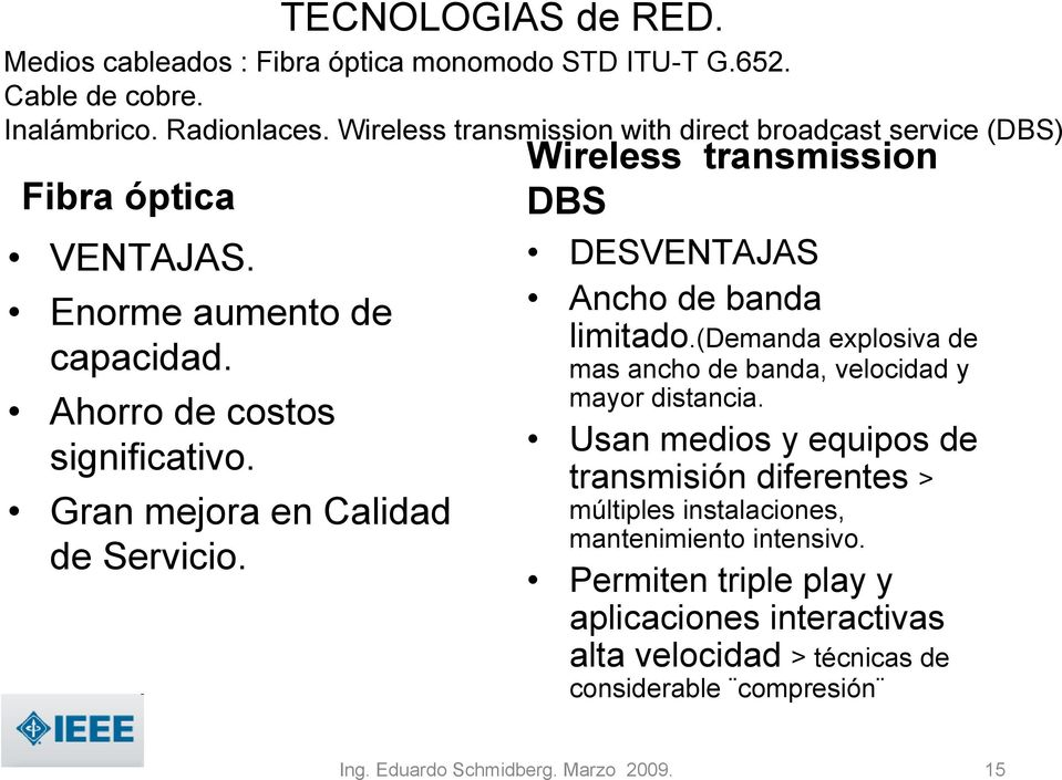 Wireless transmission with direct broadcast service (DBS) Wireless transmission DBS DESVENTAJAS Ancho de banda limitado.