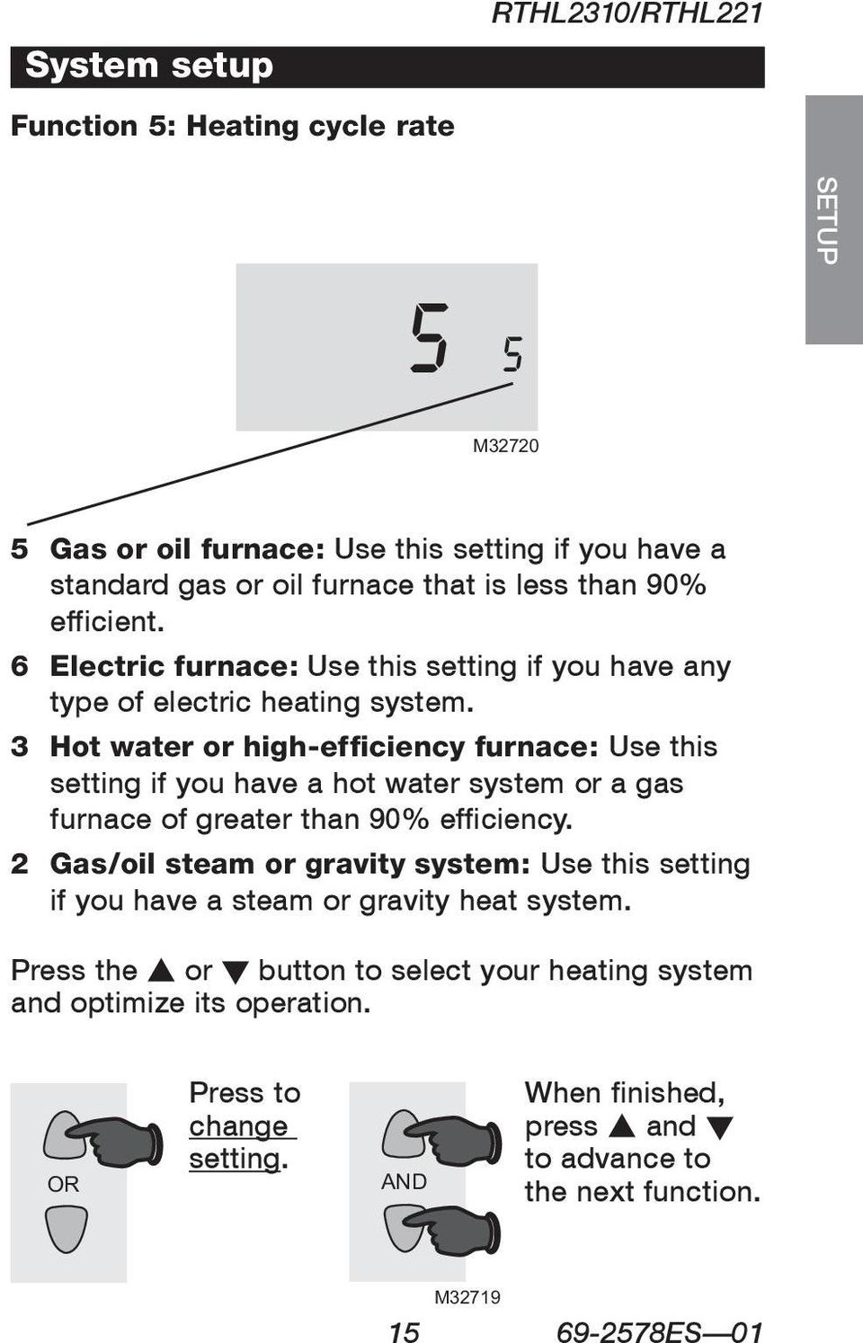 3 Hot water or high-efficiency furnace: Use this setting if you have a hot water system or a gas furnace of greater than 90% efficiency.