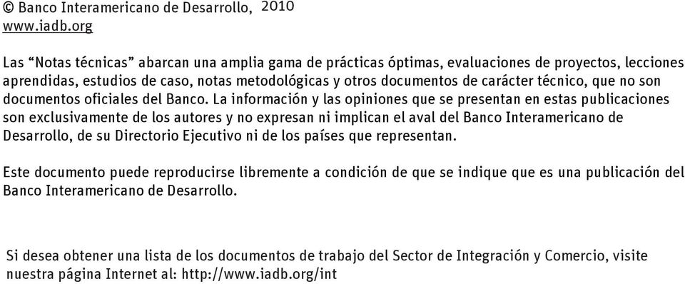 técnico, que no son documentos oficiales del Banco.