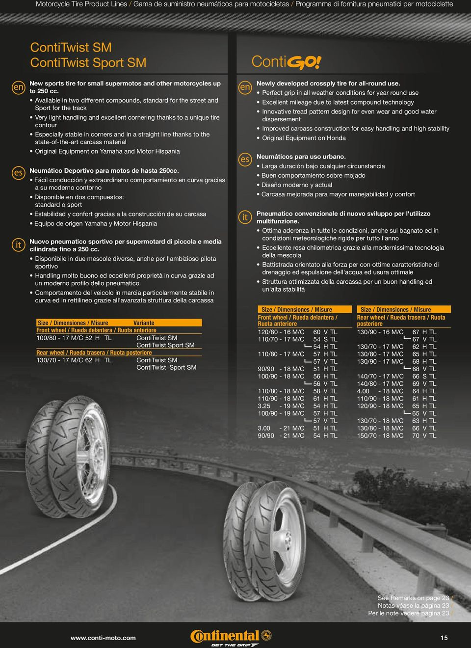 Available in two different compounds, standard for the street and Sport for the track Very light handling and excellent cornering thanks to a unique tire contour Especially stable in corners and in a