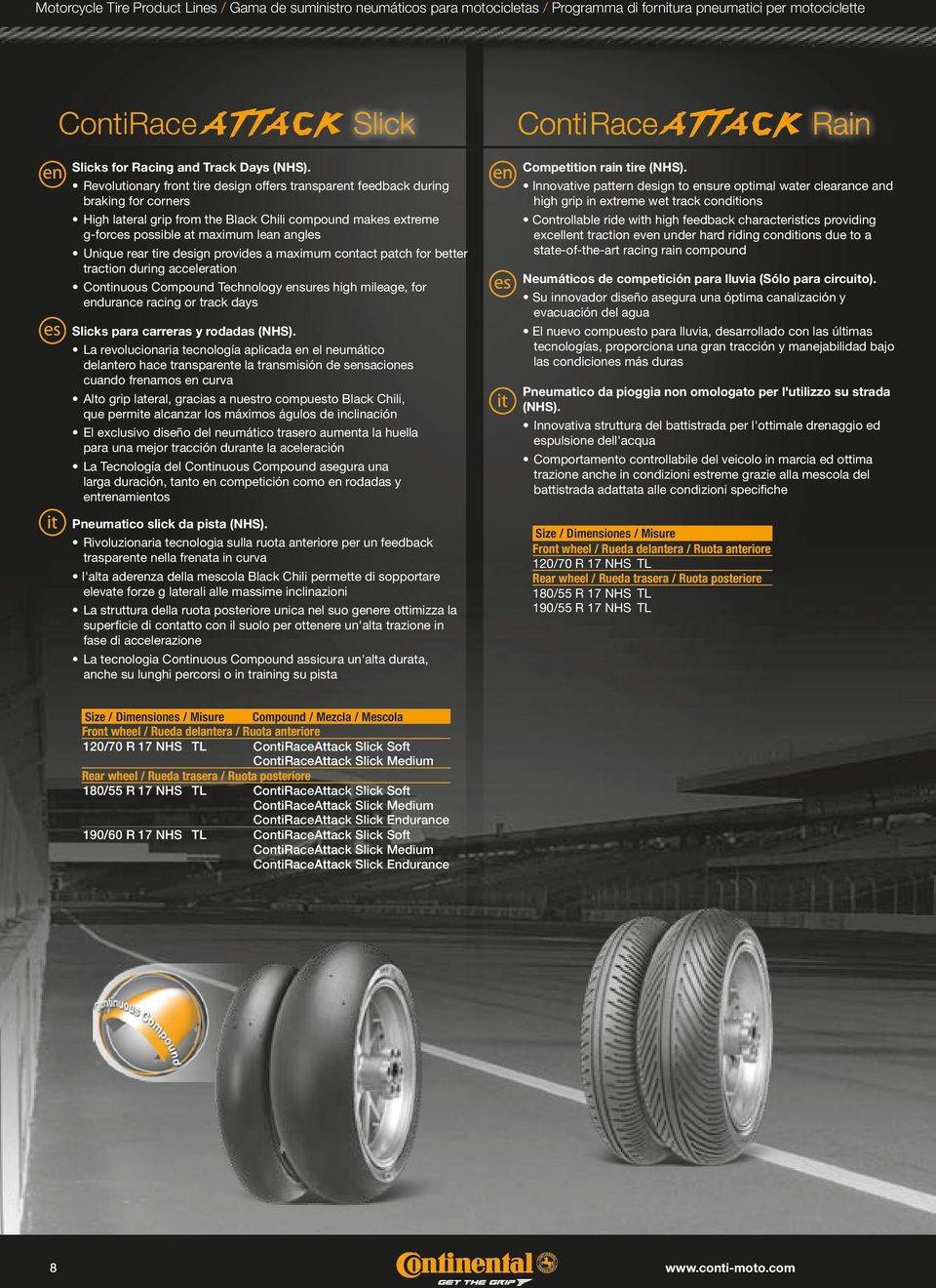 rear tire design provides a maximum contact patch for better traction during acceleration Continuous Compound Technology ensures high mileage, for endurance racing or track days Slicks para carreras