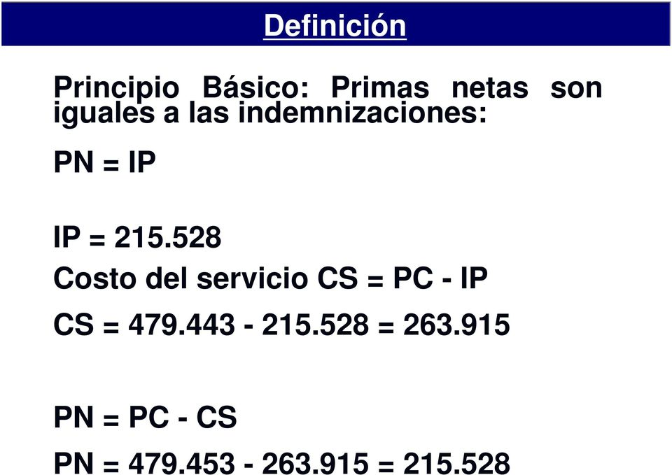 528 Costo del servicio CS = PC - IP CS = 479.
