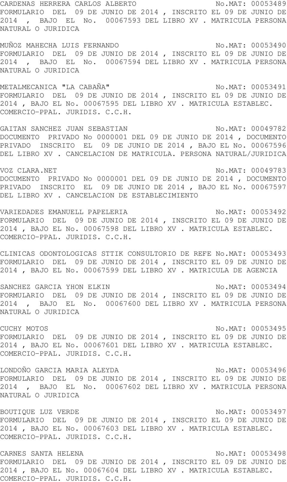MAT: 00049782 DOCUMENTO PRIVADO No 0000001 DEL 09 DE JUNIO DE 2014, DOCUMENTO PRIVADO INSCRITO EL 09 DE JUNIO DE 2014, BAJO EL No. 00067596 VOZ CLARA.NET No.