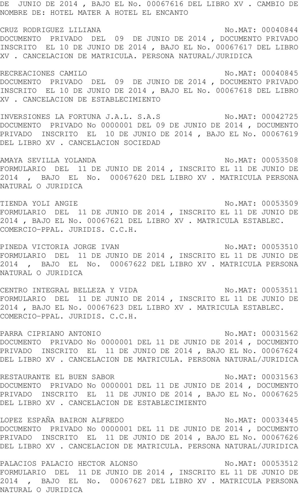 PERSONA NATURAL/JURIDICA RECREACIONES CAMILO No.MAT: 00040845 DOCUMENTO PRIVADO DEL 09 DE JUNIO DE 2014, DOCUMENTO PRIVADO INSCRITO EL 10 DE JUNIO DE 2014, BAJO EL No. 00067618 DEL LIBRO XV.
