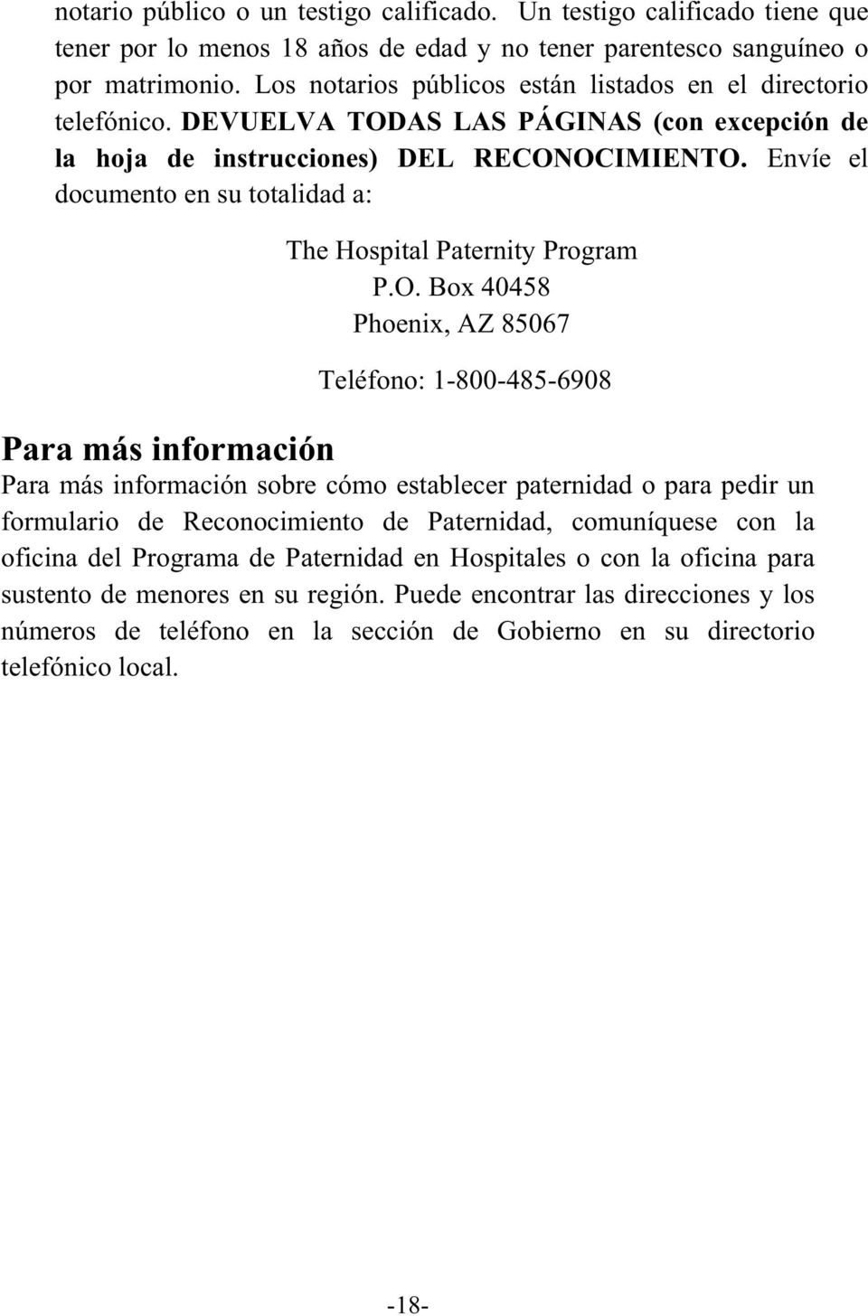 Envíe el documento en su totalidad a: The Hospital Paternity Program P.O.