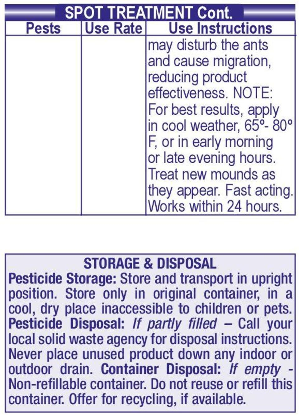 STORAGE & DISPOSAL Pesticide Storage: Store and transport in upright position. Store only in original container, in a cool, dry place inaccessible to children or pets.