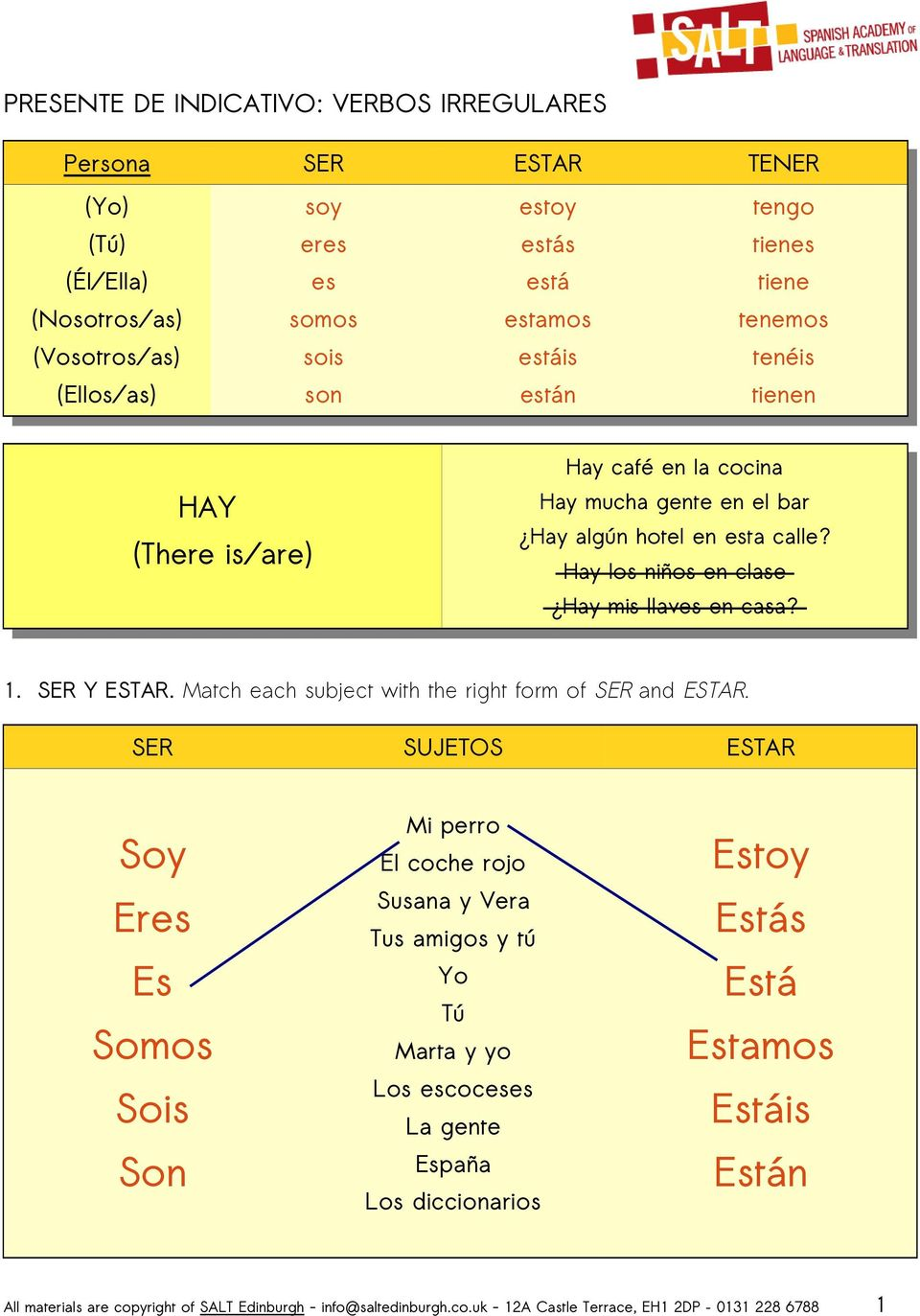 1. SER Y. Match each subject with the right form of SER and.