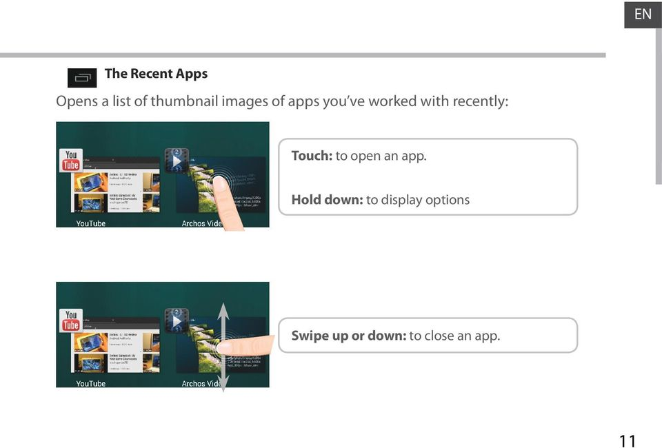 Touch: to open an app.