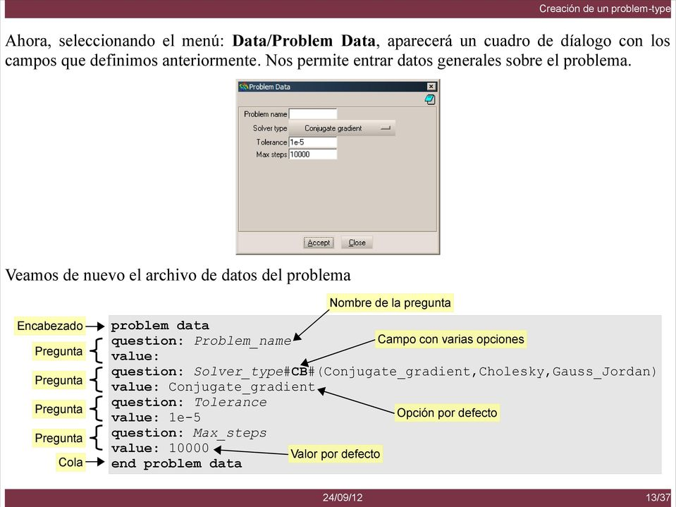 Veamos de nuevo el archivo de datos del problema Encabezado Pregunta Pregunta Pregunta Pregunta Cola problem data question: Problem_name value: