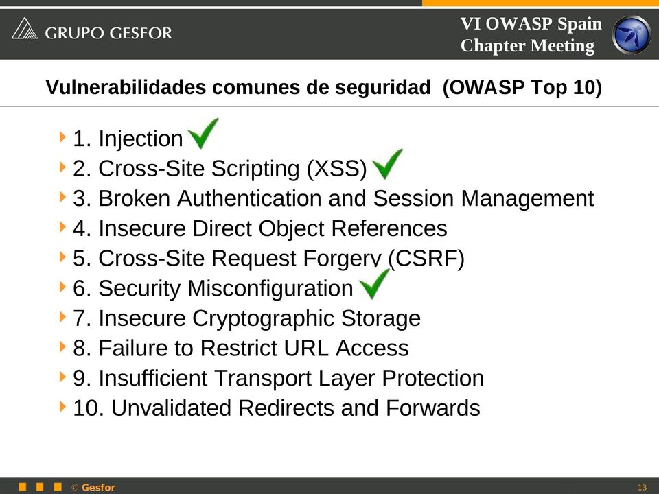 Cross-Site Request Forgery (CSRF) 6. Security Misconfiguration 7. Insecure Cryptographic Storage 8.