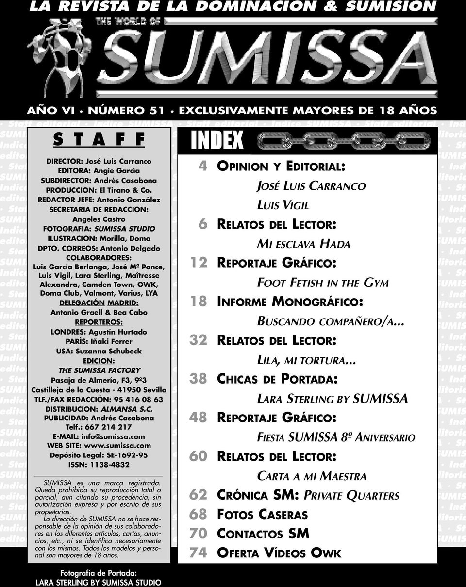 SUMISSA Staff editorial Indice SUMISSA Staff editorial Indice SUMISS Staff editorial Indice SUMISSA Staff editorial Indice SUMISSA Staff editorial Indi UMISSA Staff editorial Indice SUMISSA Staff