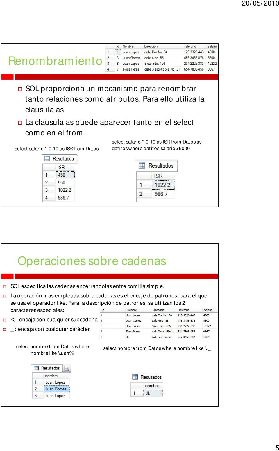 10 as ISR from Datos as datitos where datitos.salario >6000 Operaciones sobre cadenas SQL especifica las cadenas encerrándolas entre comilla simple.