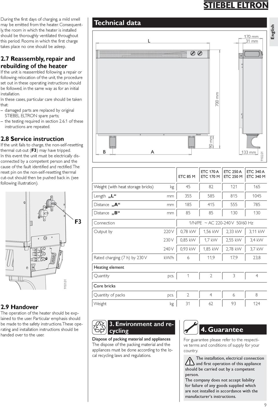 7 Reassembly, repair and rebuilding of the heater If the unit is reassembled following a repair or following relocation of the unit, the procedure set out in these operating instructions should be
