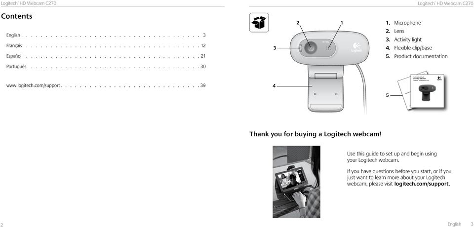 ............................ 39 4 5 Important information Getting started with Première utilisation Logitech HD Webcam C270 Safety, compliance, and warranty Thank you for buying a Logitech webcam!
