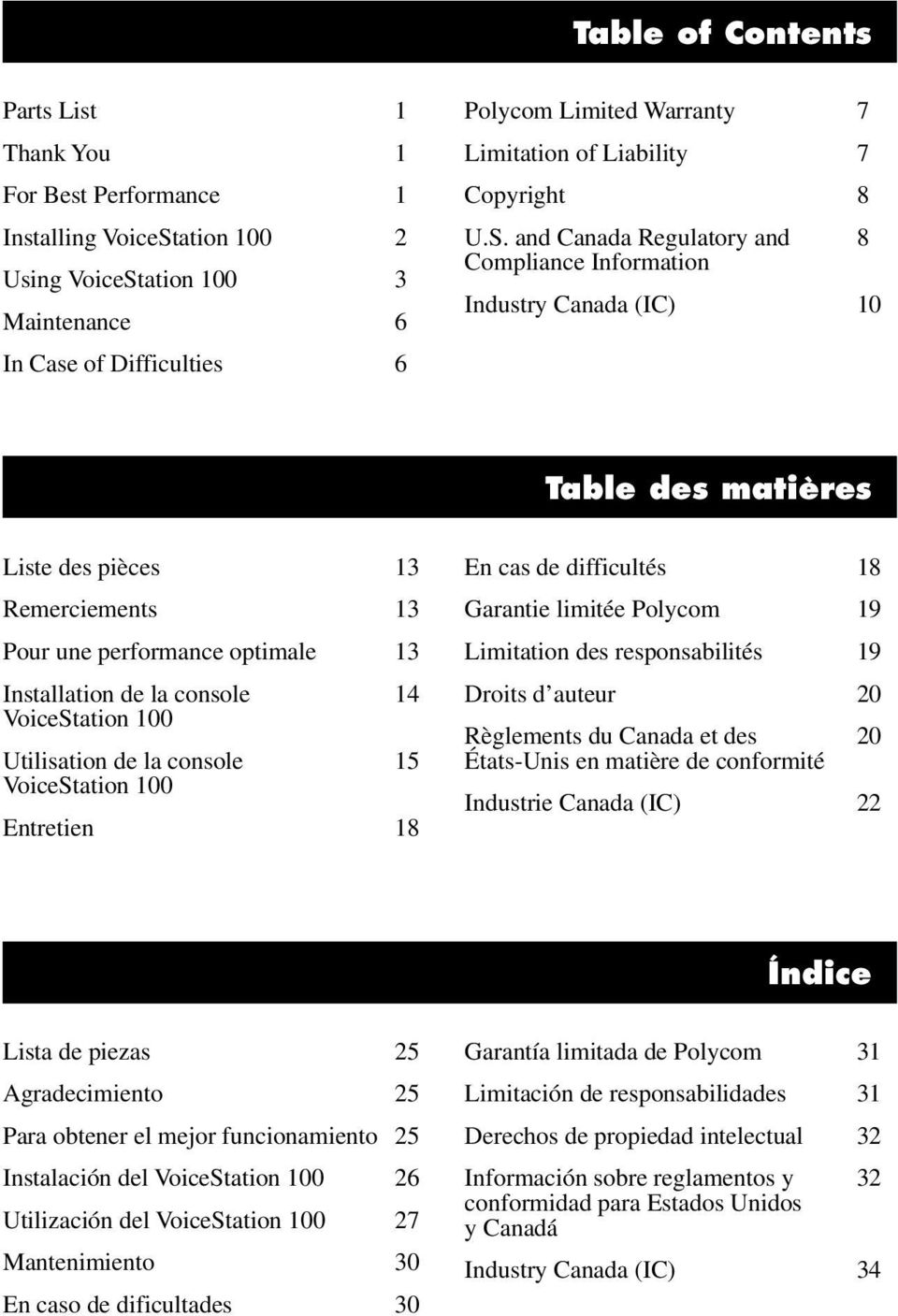 and Canada Regulatory and 8 Compliance Information Industry Canada (IC) 10 Table des matières Liste des pièces 13 Remerciements 13 Pour une performance optimale 13 Installation de la console 14