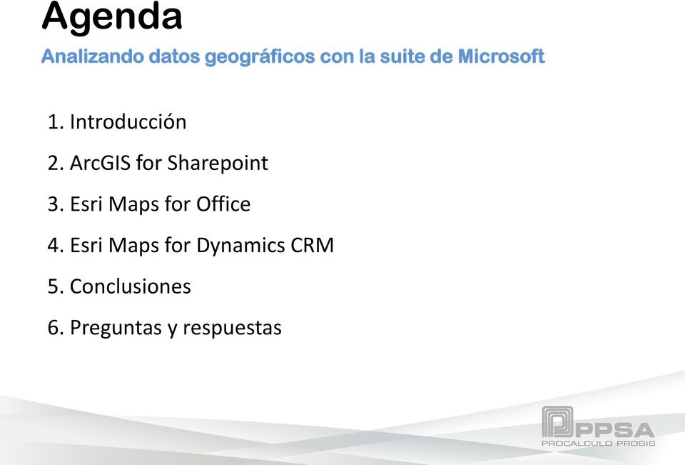 ArcGIS for Sharepoint 3. Esri Maps for Office 4.