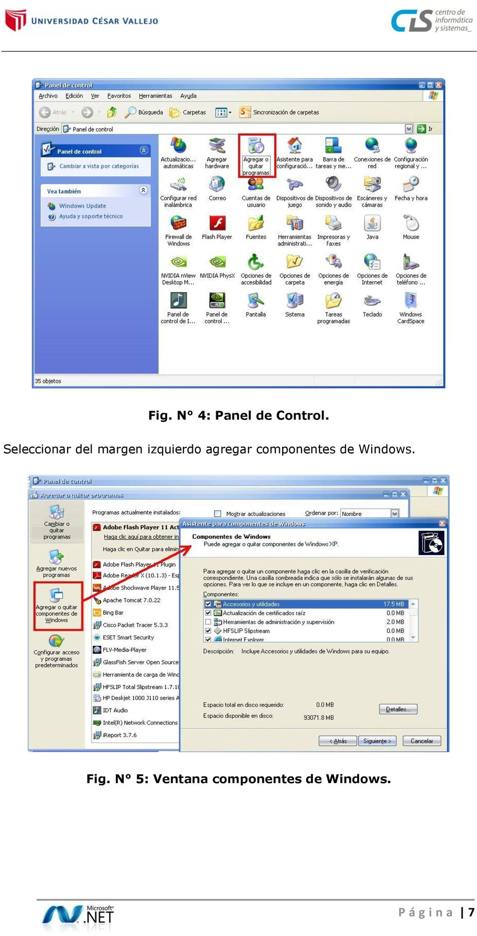 agregar componentes de Windows. Fig.