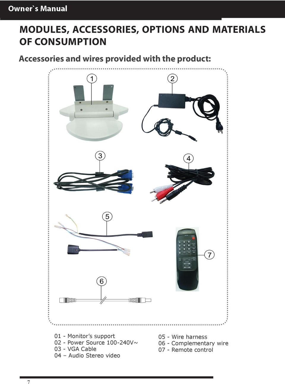 support 02 - Power Source 100-240V~ 03 - VGA Cable 04 Audio