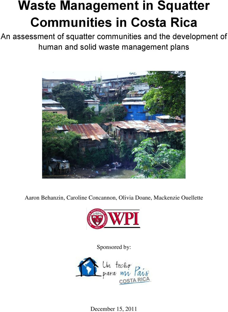 and solid waste management plans Aaron Behanzin, Caroline