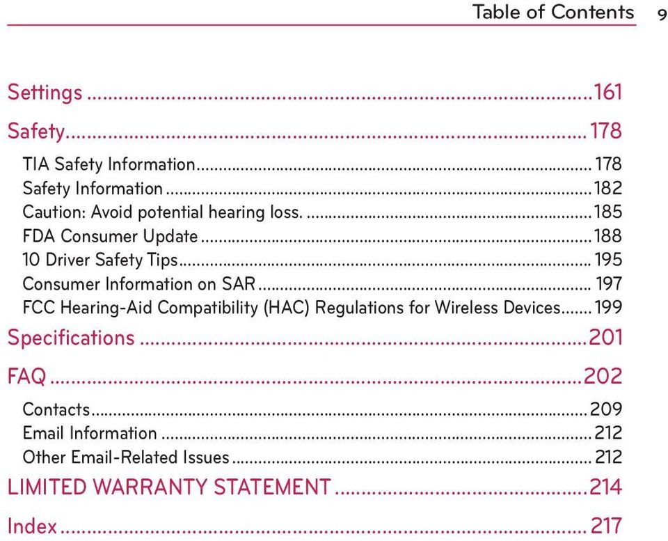 .. 195 Consumer Information on SAR... 197 FCC Hearing-Aid Compatibility (HAC) Regulations for Wireless Devices.
