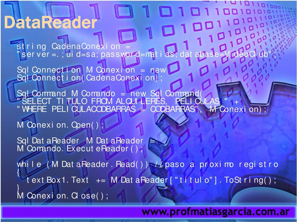"MiComando = new SqlCommand( ""SELECT TITULO FROM ALQUILERES, PELICULAS "" + ""WHERE PELICULACODBARRAS = CODBARRAS,"